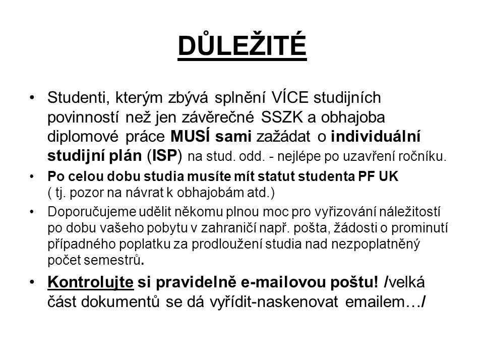 DŮLEŽITÉ Studenti, kterým zbývá splnění VÍCE studijních povinností než jen závěrečné SSZK a obhajoba diplomové práce MUSÍ sami zažádat o individuální studijní plán (ISP) na stud.