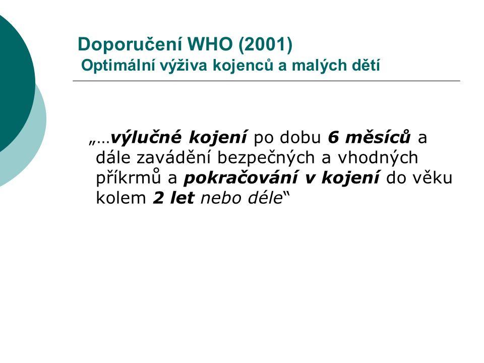 """Doporučení WHO (2001) Optimální výživa kojenců a malých dětí """"…výlučné kojení po dobu 6 měsíců a dále zavádění bezpečných a vhodných příkrmů a pokračo"""