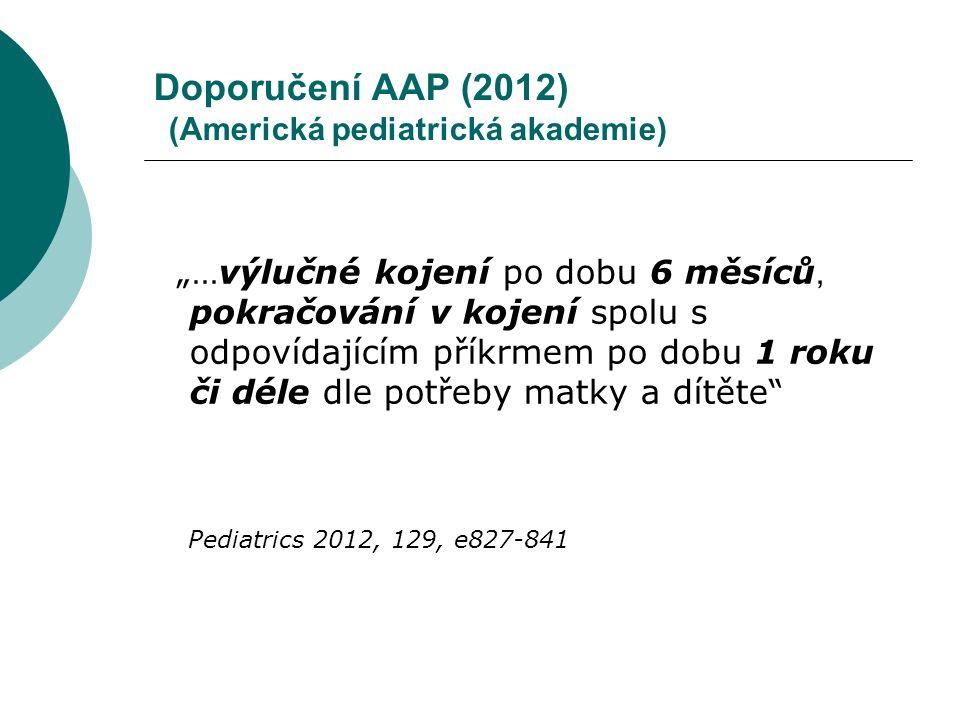 """Doporučení AAP (2012) (Americká pediatrická akademie) """"…výlučné kojení po dobu 6 měsíců, pokračování v kojení spolu s odpovídajícím příkrmem po dobu 1"""