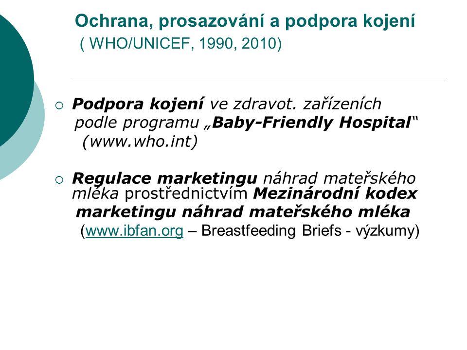 """Ochrana, prosazování a podpora kojení ( WHO/UNICEF, 1990, 2010)  Podpora kojení ve zdravot. zařízeních podle programu """"Baby-Friendly Hospital"""" (www.w"""