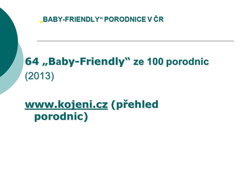 """""""BABY-FRIENDLY"""" PORODNICE V ČR 64 """"B a by-Friendly"""" ze 100 porodnic (2013) www.kojeni.czwww.kojeni.cz (přehled porodnic) www.kojeni.cz"""