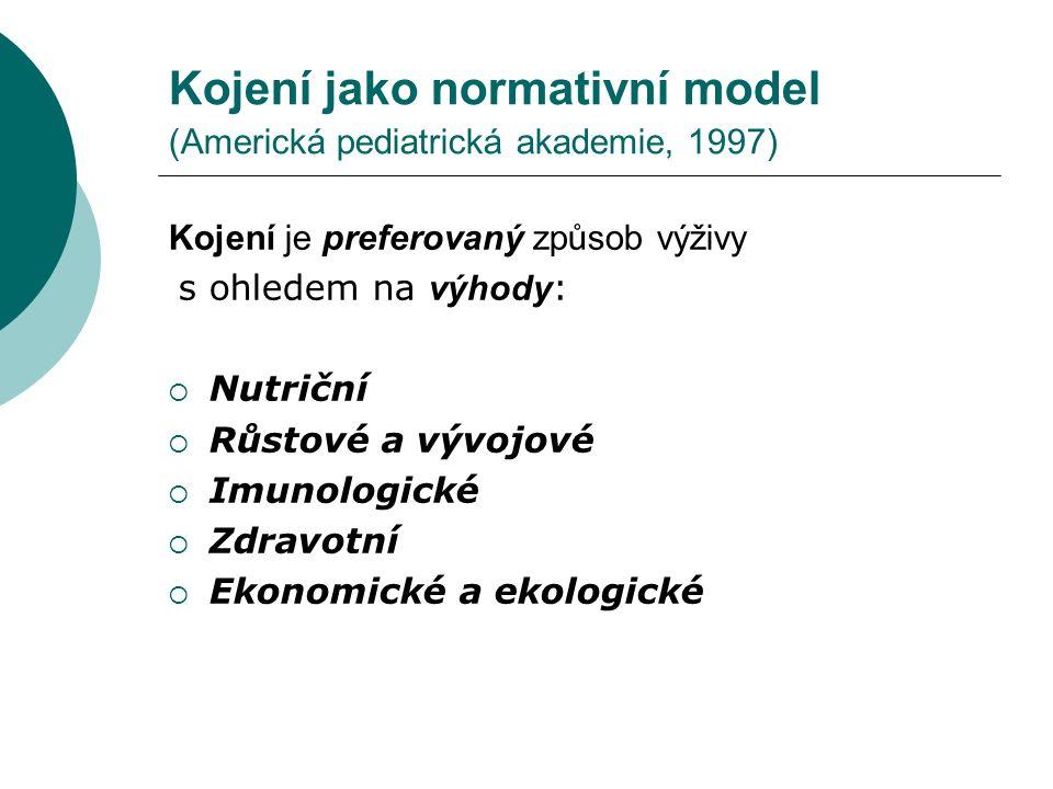 Kojení jako normativní model (Americká pediatrická akademie, 1997) Kojení je preferovaný způsob výživy s ohledem na výhody :  Nutriční  Růstové a vý