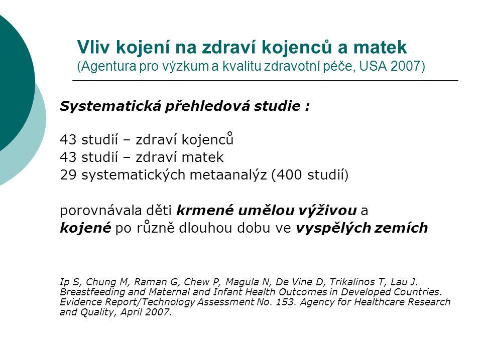 Vliv kojení na zdraví kojenců a matek (Agentura pro výzkum a kvalitu zdravotní péče, USA 2007) Systematická přehledová studie : 43 studií – zdraví koj