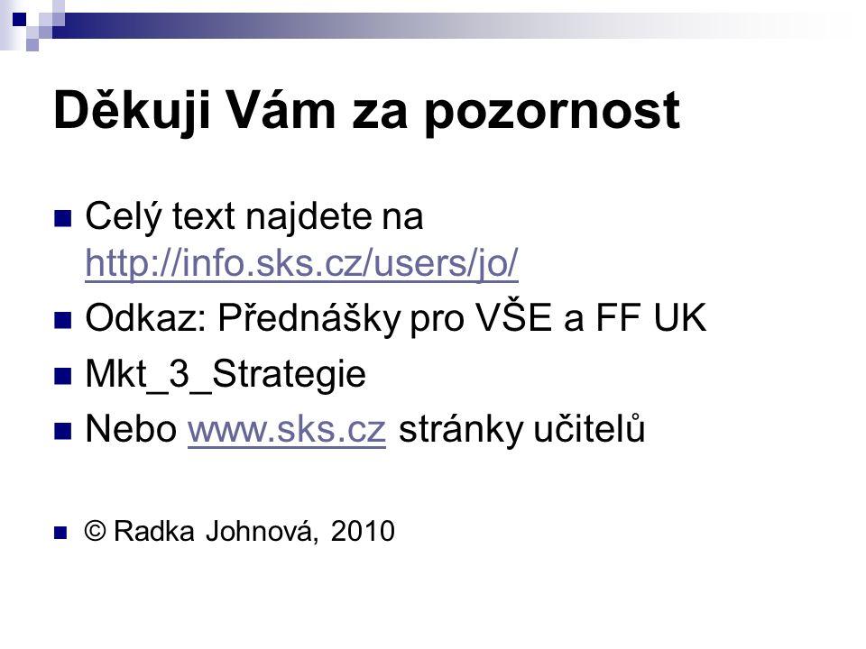 Děkuji Vám za pozornost Celý text najdete na http://info.sks.cz/users/jo/ http://info.sks.cz/users/jo/ Odkaz: Přednášky pro VŠE a FF UK Mkt_3_Strategie Nebo www.sks.cz stránky učitelůwww.sks.cz © Radka Johnová, 2010