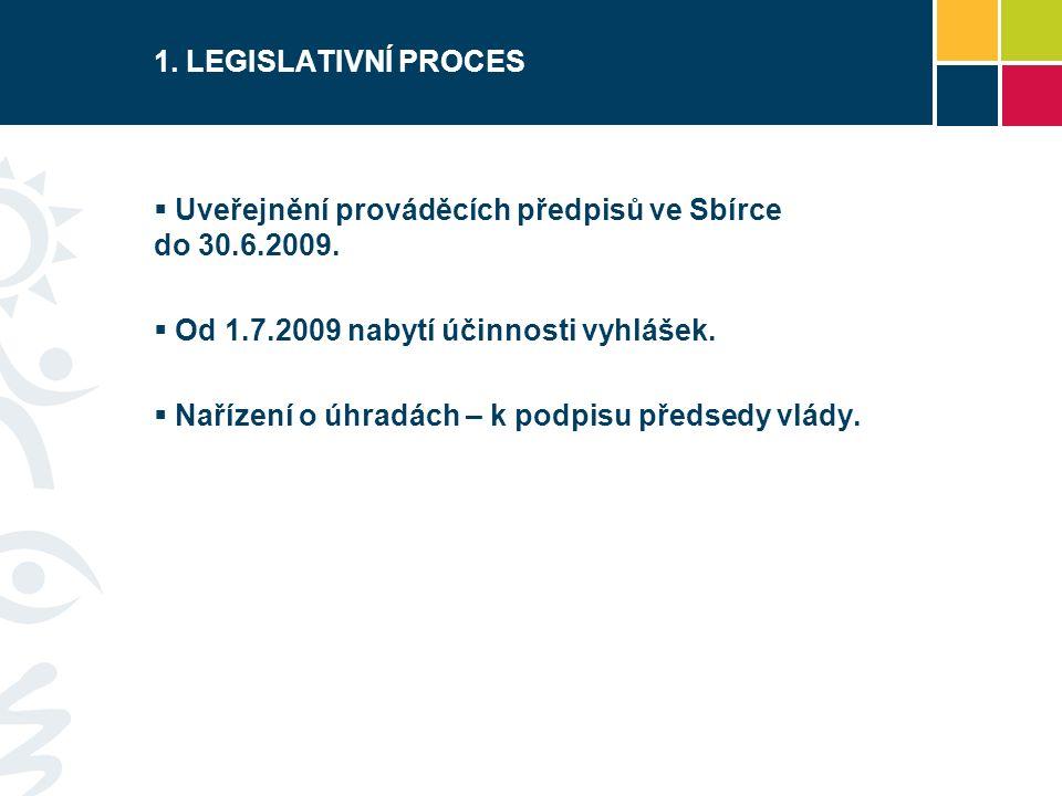 1. LEGISLATIVNÍ PROCES  Uveřejnění prováděcích předpisů ve Sbírce do 30.6.2009.