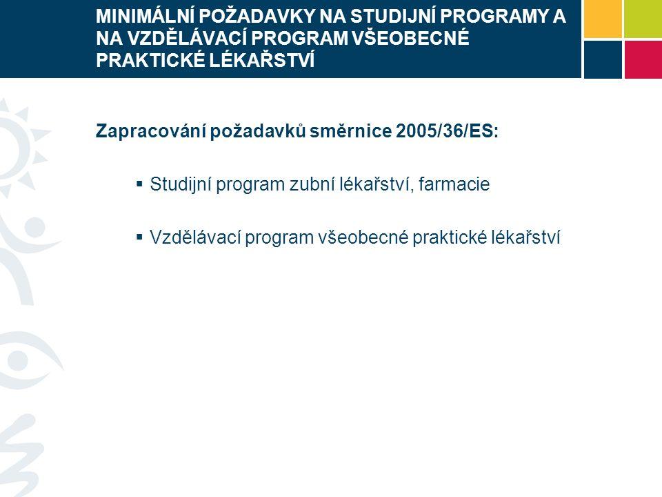 MINIMÁLNÍ POŽADAVKY NA STUDIJNÍ PROGRAMY A NA VZDĚLÁVACÍ PROGRAM VŠEOBECNÉ PRAKTICKÉ LÉKAŘSTVÍ Zapracování požadavků směrnice 2005/36/ES:  Studijní program zubní lékařství, farmacie  Vzdělávací program všeobecné praktické lékařství