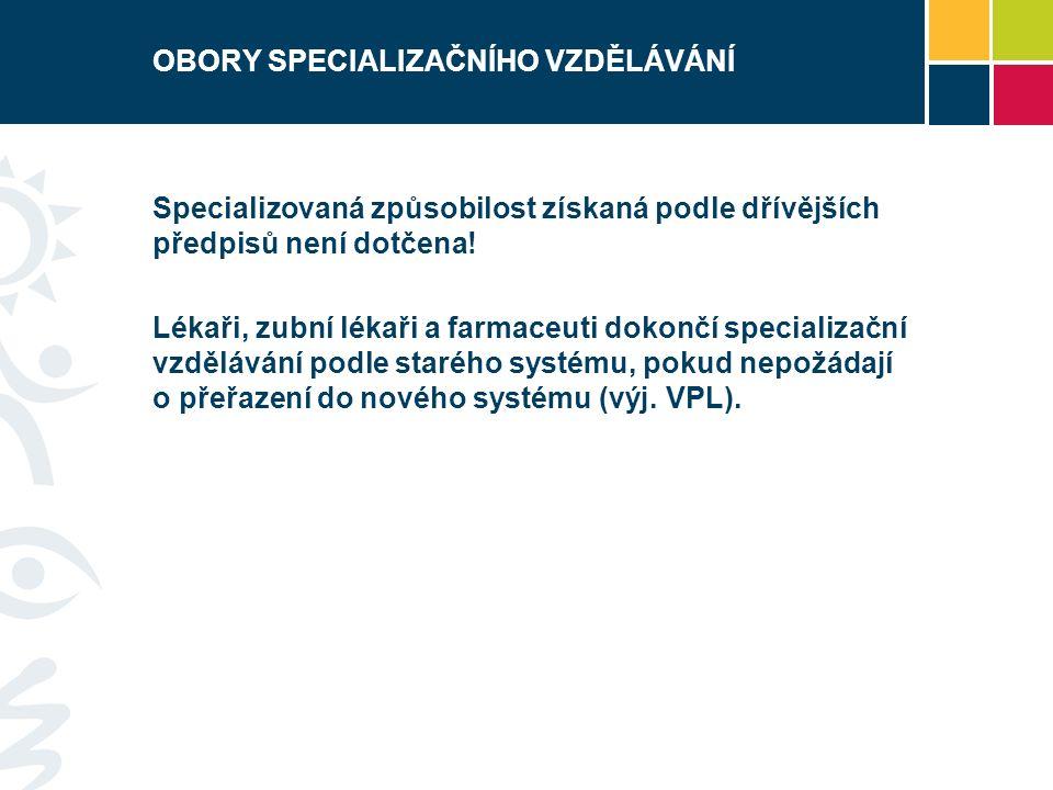 OBORY SPECIALIZAČNÍHO VZDĚLÁVÁNÍ Specializovaná způsobilost získaná podle dřívějších předpisů není dotčena.