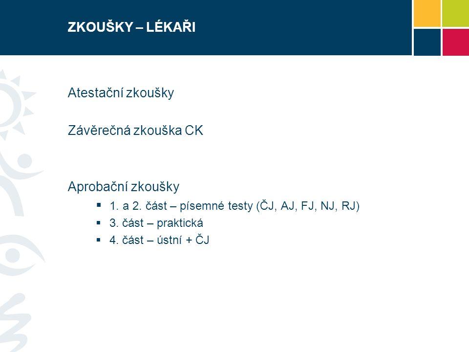 ZKOUŠKY – LÉKAŘI Atestační zkoušky Závěrečná zkouška CK Aprobační zkoušky  1.