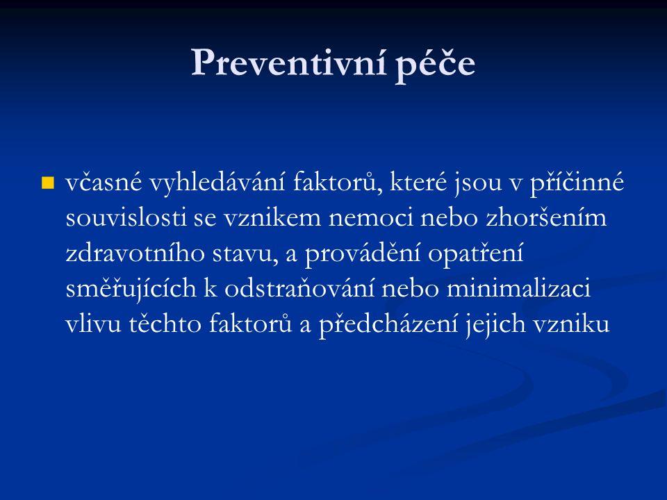 Preventivní péče včasné vyhledávání faktorů, které jsou v příčinné souvislosti se vznikem nemoci nebo zhoršením zdravotního stavu, a provádění opatření směřujících k odstraňování nebo minimalizaci vlivu těchto faktorů a předcházení jejich vzniku
