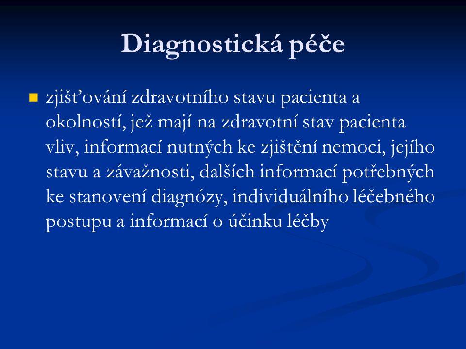 Diagnostická péče zjišťování zdravotního stavu pacienta a okolností, jež mají na zdravotní stav pacienta vliv, informací nutných ke zjištění nemoci, jejího stavu a závažnosti, dalších informací potřebných ke stanovení diagnózy, individuálního léčebného postupu a informací o účinku léčby