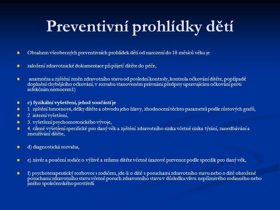 Preventivní prohlídky dětí Obsahem všeobecných preventivních prohlídek dětí od narození do 18 měsíců věku je založení zdravotnické dokumentace při přijetí dítěte do péče, anamnéza a zjištění změn zdravotního stavu od poslední kontroly, kontrola očkování dítěte, popřípadě doplnění chybějícího očkování, v rozsahu stanoveném právními předpisy upravujícími očkování proti infekčním nemocem1) c) fyzikální vyšetření, jehož součástí je 1.