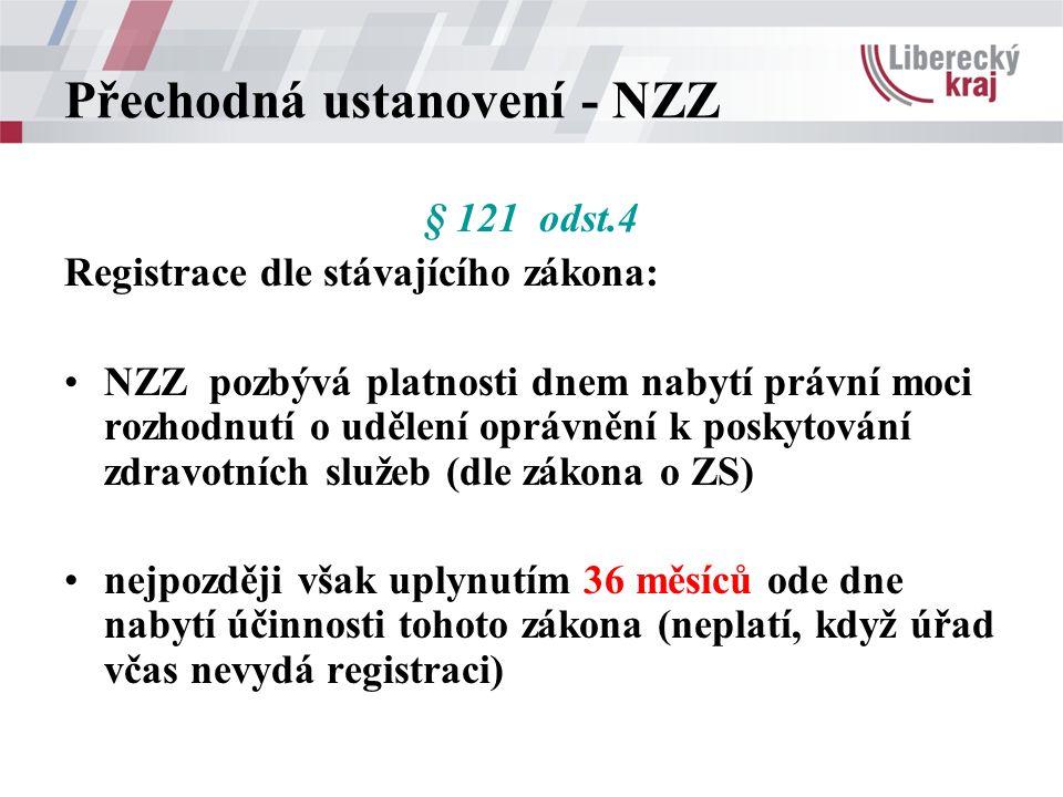 Přechodná ustanovení - NZZ § 121 odst.4 Registrace dle stávajícího zákona: NZZ pozbývá platnosti dnem nabytí právní moci rozhodnutí o udělení oprávnění k poskytování zdravotních služeb (dle zákona o ZS) nejpozději však uplynutím 36 měsíců ode dne nabytí účinnosti tohoto zákona (neplatí, když úřad včas nevydá registraci)