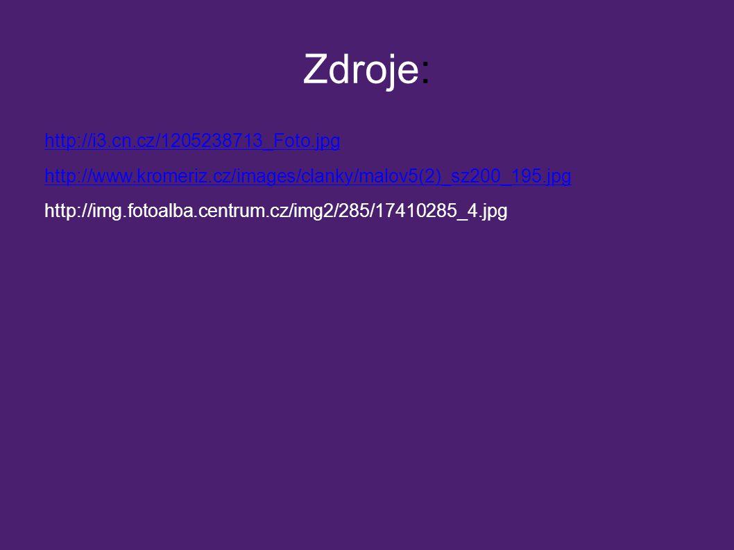 Zdroje: http://i3.cn.cz/1205238713_Foto.jpg http://www.kromeriz.cz/images/clanky/malov5(2)_sz200_195.jpg http://img.fotoalba.centrum.cz/img2/285/17410