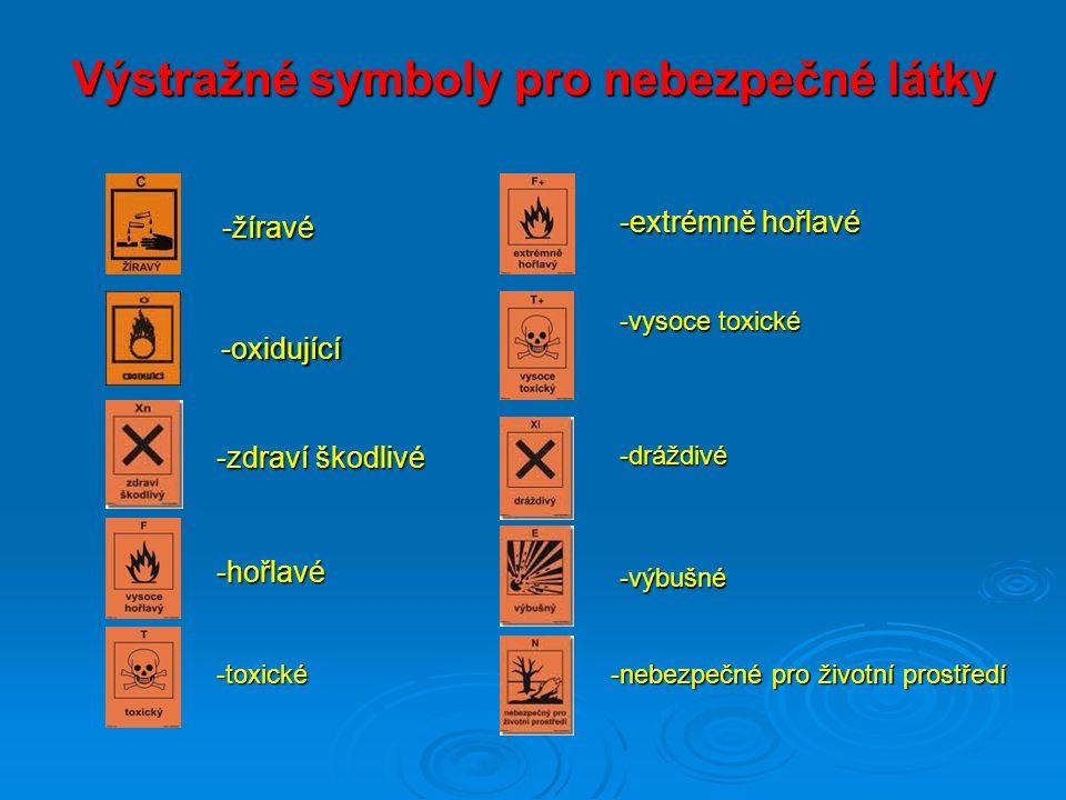 Výstražné symboly pro nebezpečné látky -žíravé -žíravé -oxidující -oxidující -zdraví škodlivé -hořlavé -extrémně hořlavé -toxické -vysoce toxické -drá