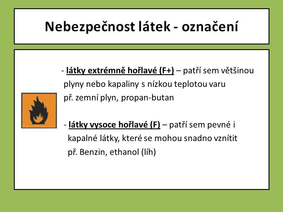 - látky extrémně hořlavé (F+) – patří sem většinou plyny nebo kapaliny s nízkou teplotou varu př.