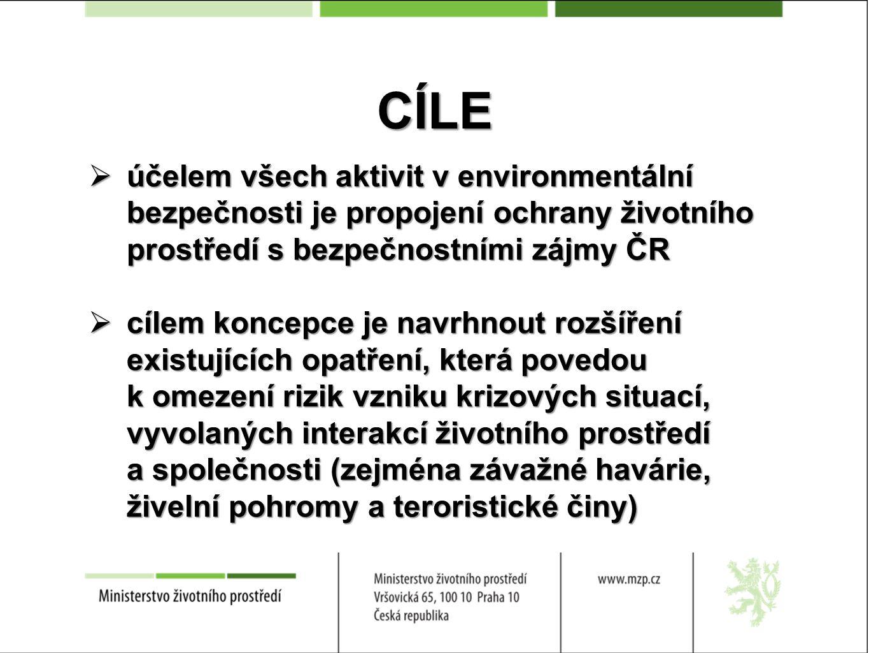 CÍLE  účelem všech aktivit v environmentální bezpečnosti je propojení ochrany životního prostředí s bezpečnostními zájmy ČR  cílem koncepce je navrh