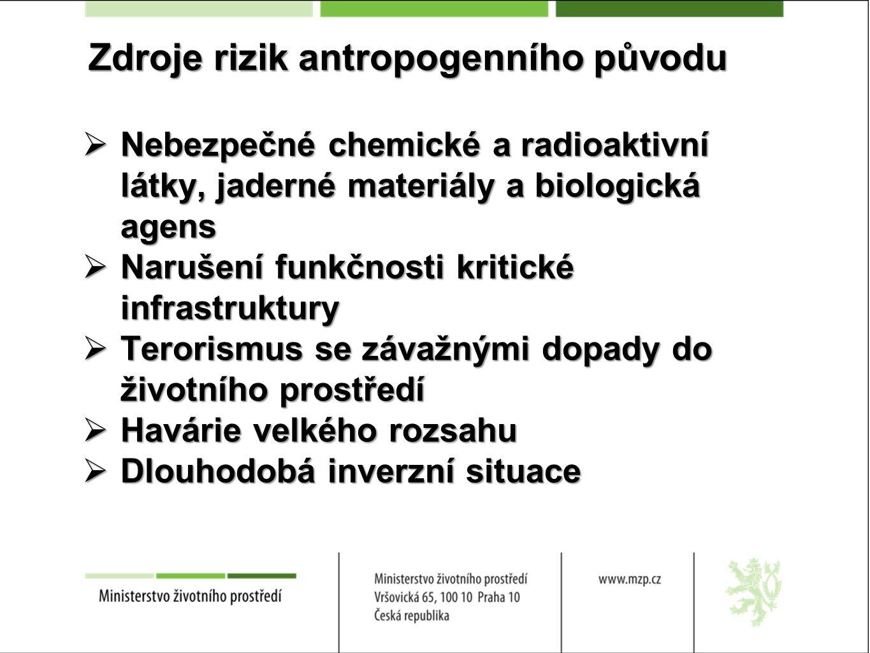 Zdroje rizik antropogenního původu  Nebezpečné chemické a radioaktivní látky, jaderné materiály a biologická agens  Narušení funkčnosti kritické inf