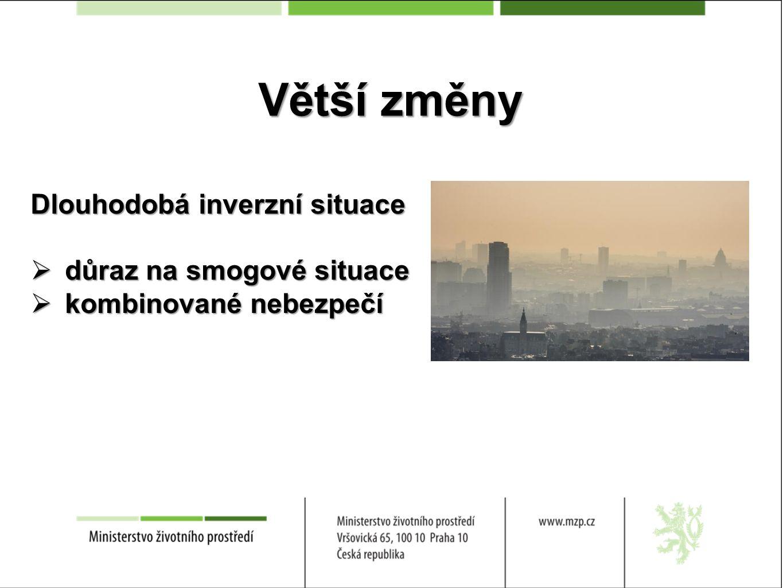 Větší změny Dlouhodobá inverzní situace  důraz na smogové situace  kombinované nebezpečí