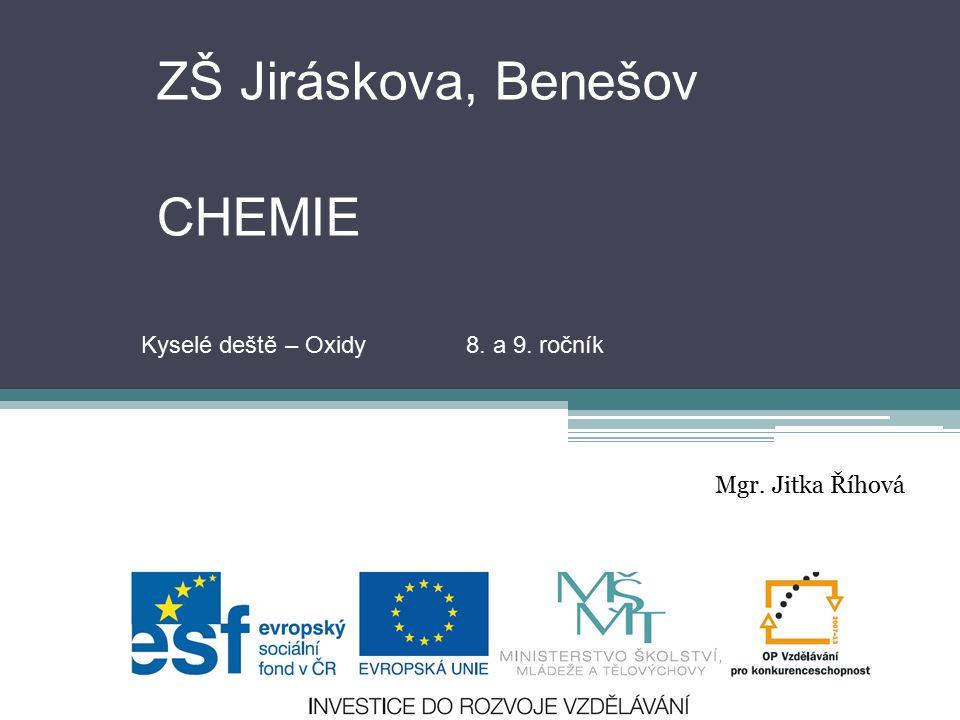 ZŠ Jiráskova, Benešov CHEMIE Mgr. Jitka Říhová Kyselé deště – Oxidy 8. a 9. ročník