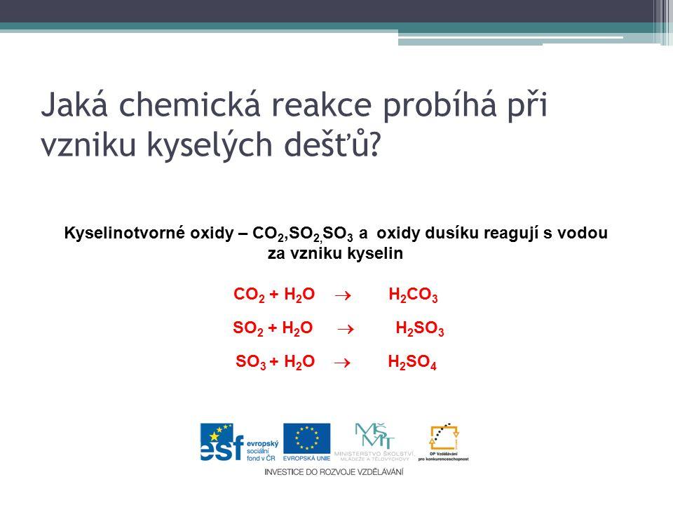 Jaká chemická reakce probíhá při vzniku kyselých dešťů.