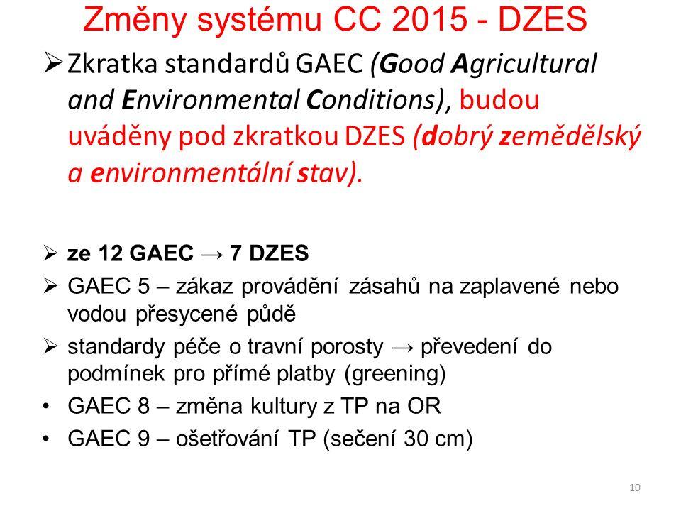 Změny systému CC 2015 - DZES  Zkratka standardů GAEC (Good Agricultural and Environmental Conditions), budou uváděny pod zkratkou DZES (dobrý zemědělský a environmentální stav).