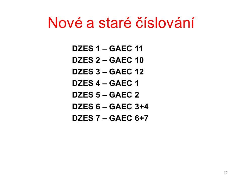 Nové a staré číslování DZES 1 – GAEC 11 DZES 2 – GAEC 10 DZES 3 – GAEC 12 DZES 4 – GAEC 1 DZES 5 – GAEC 2 DZES 6 – GAEC 3+4 DZES 7 – GAEC 6+7 12