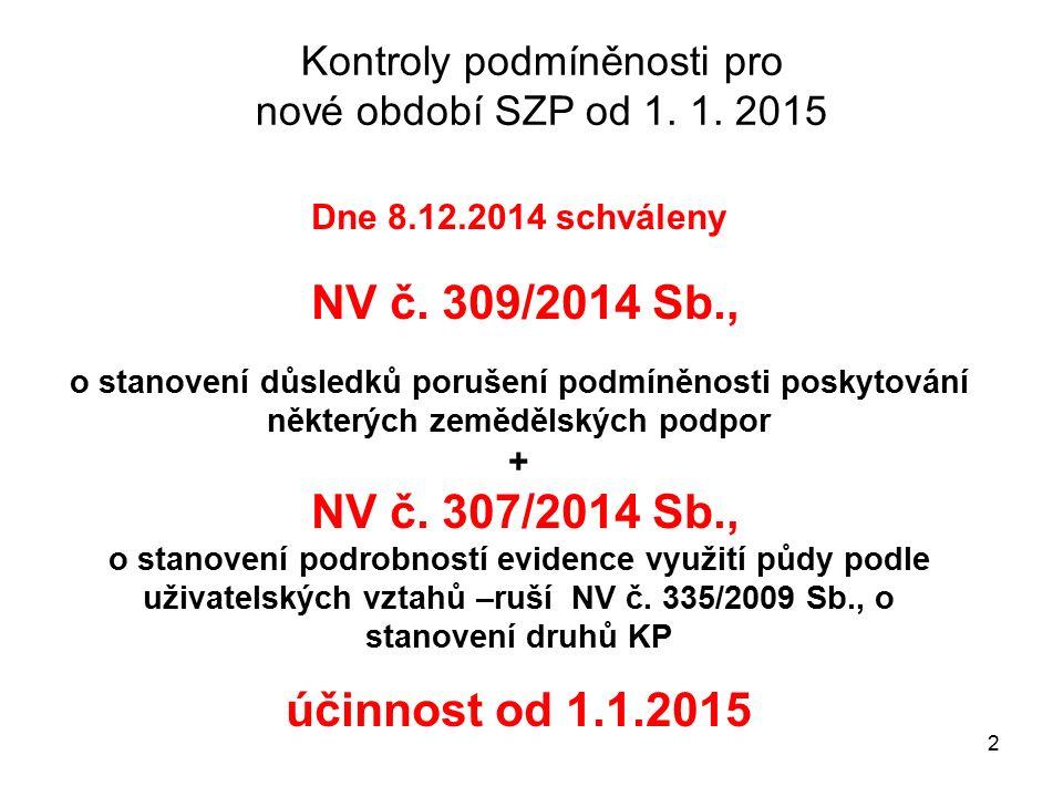 2 Dne 8.12.2014 schváleny NV č. 309/2014 Sb., o stanovení důsledků porušení podmíněnosti poskytování některých zemědělských podpor + NV č. 307/2014 Sb