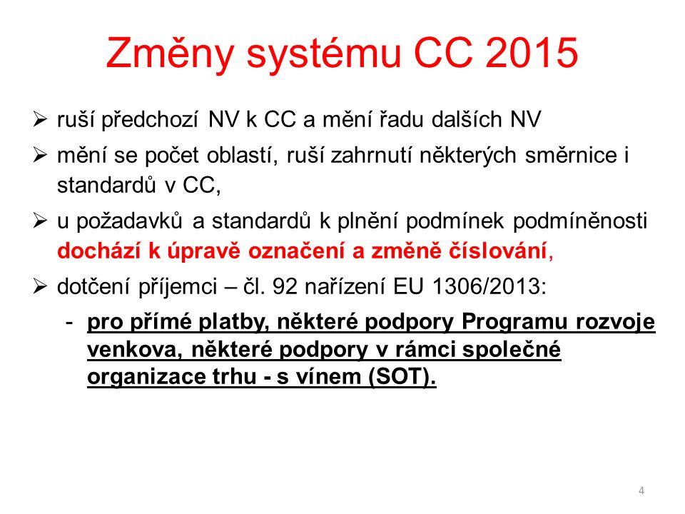 Změny systému CC 2015  ruší předchozí NV k CC a mění řadu dalších NV  mění se počet oblastí, ruší zahrnutí některých směrnice i standardů v CC,  u požadavků a standardů k plnění podmínek podmíněnosti dochází k úpravě označení a změně číslování,  dotčení příjemci – čl.