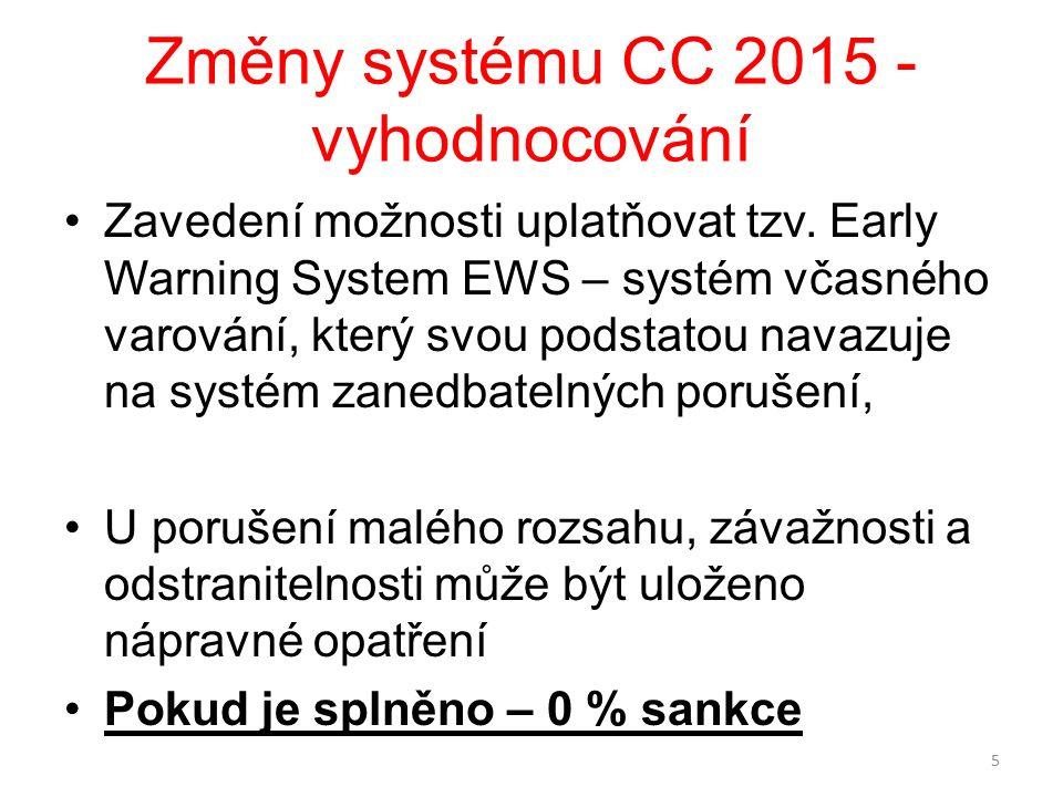 Změny systému CC 2015 - vyhodnocování Zavedení možnosti uplatňovat tzv. Early Warning System EWS – systém včasného varování, který svou podstatou nava