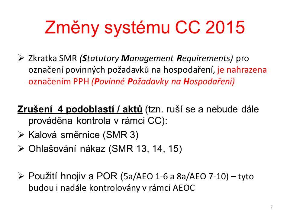 Změny systému CC 2015  Zkratka SMR (Statutory Management Requirements) pro označení povinných požadavků na hospodaření, je nahrazena označením PPH (Povinné Požadavky na Hospodaření) Zrušení 4 podoblastí / aktů (tzn.