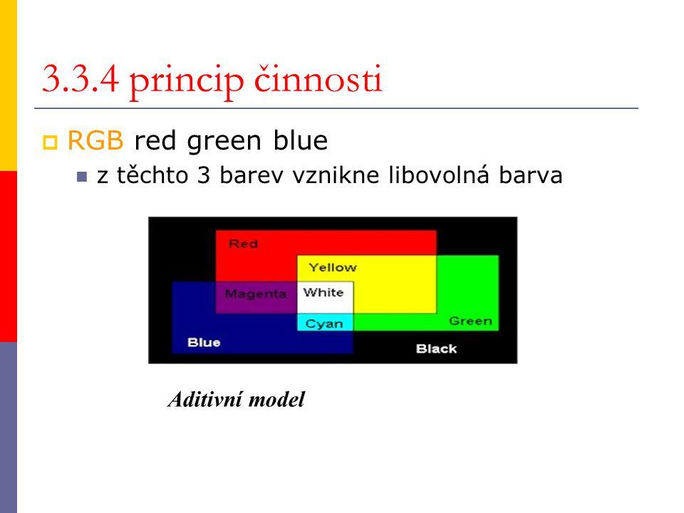 3.3.4 princip činnosti  RGB red green blue z těchto 3 barev vznikne libovolná barva Aditivní model