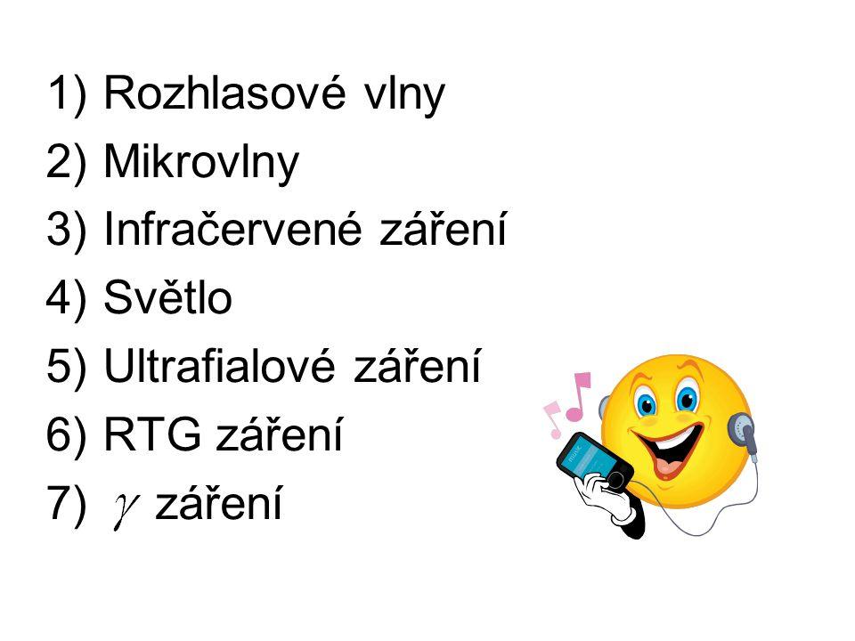 1)Rozhlasové vlny 2)Mikrovlny 3)Infračervené záření 4)Světlo 5)Ultrafialové záření 6)RTG záření 7) záření