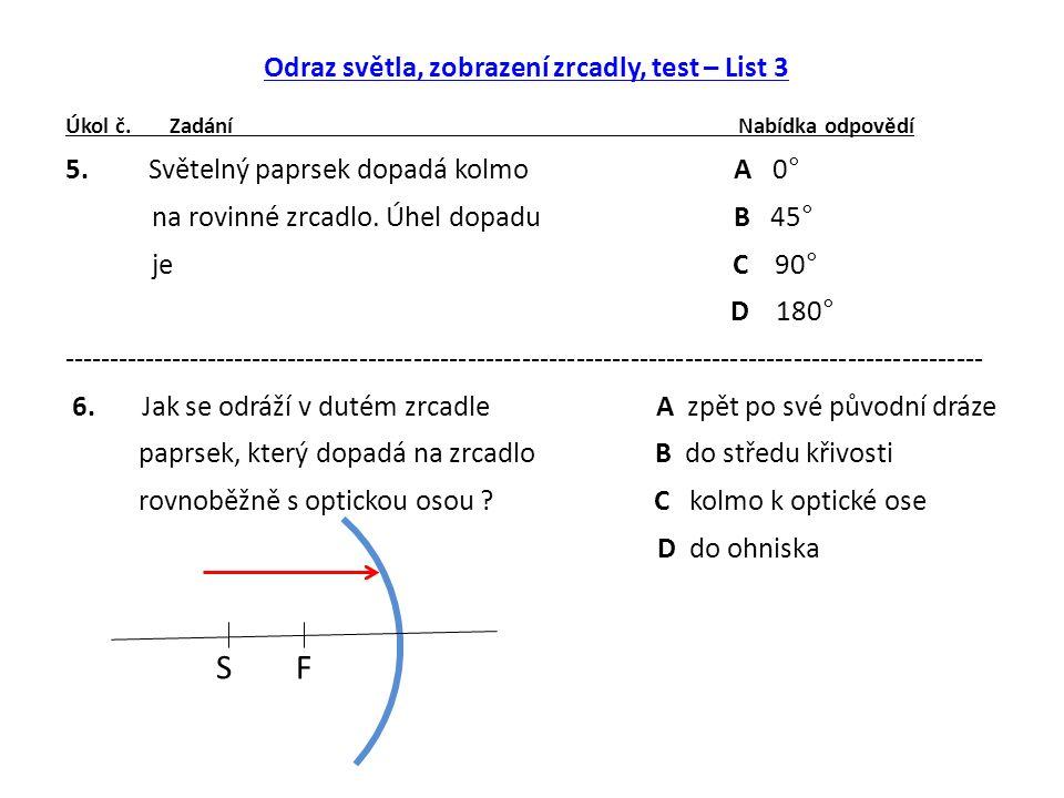 Odraz světla, zobrazení zrcadly, test – List 3 Úkol č.