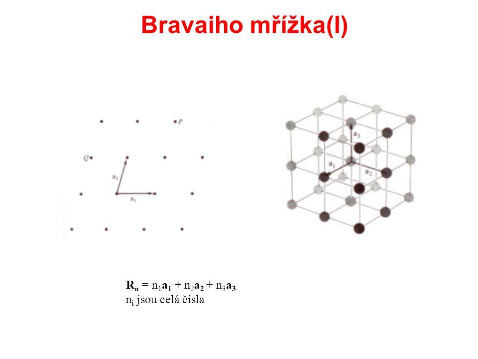 Bravaiho mřížka(I) R n = n 1 a 1 + n 2 a 2 + n 3 a 3 n i jsou celá čísla