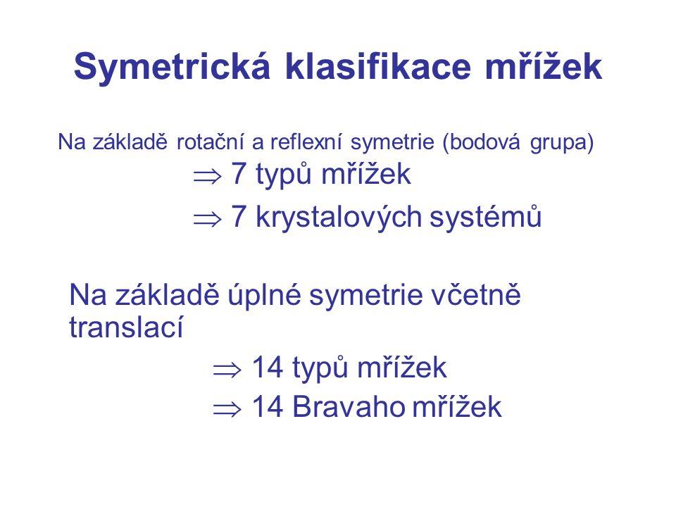 Symetrická klasifikace mřížek Na základě rotační a reflexní symetrie (bodová grupa)  7 typů mřížek  7 krystalových systémů Na základě úplné symetrie