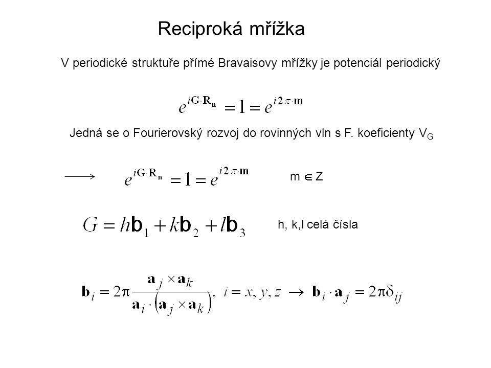 Reciproká mřížka V periodické struktuře přímé Bravaisovy mřížky je potenciál periodický Jedná se o Fourierovský rozvoj do rovinných vln s F. koeficien