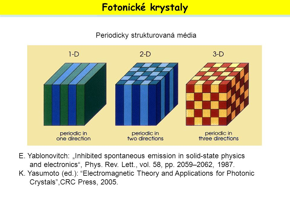 """Fotonické krystaly E. Yablonovitch: """"Inhibited spontaneous emission in solid-state physics and electronics"""", Phys. Rev. Lett., vol. 58, pp. 2059–2062,"""