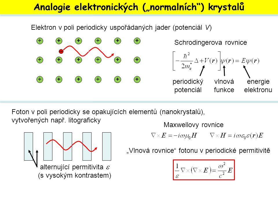 """Analogie elektronických (""""normalních"""") krystalů ++++++ ++++++ ++++++ – Elektron v poli periodicky uspořádaných jader (potenciál V) Schrodingerova rovn"""
