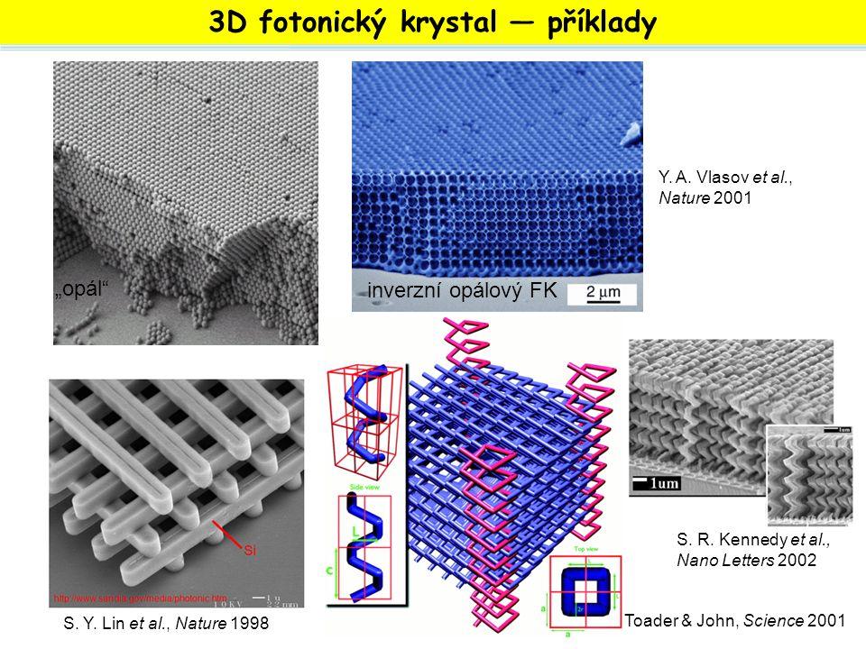 """3D fotonický krystal — příklady """"opál"""" inverzní opálový FK S. Y. Lin et al., Nature 1998 Y. A. Vlasov et al., Nature 2001 S. R. Kennedy et al., Nano L"""