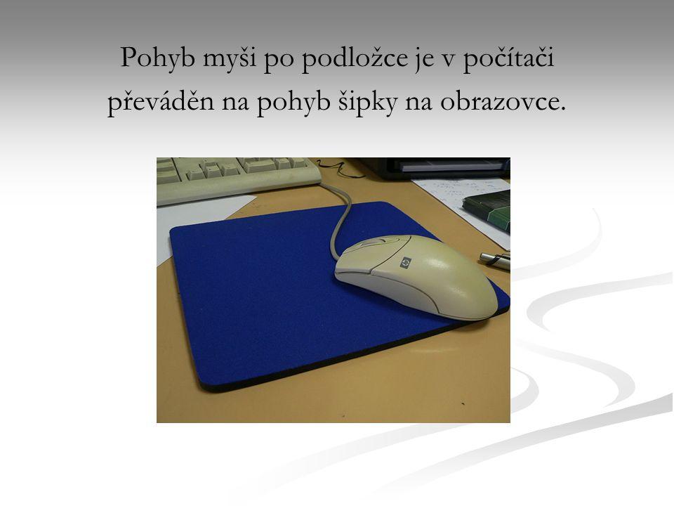 Pohyb myši po podložce je v počítači převáděn na pohyb šipky na obrazovce.