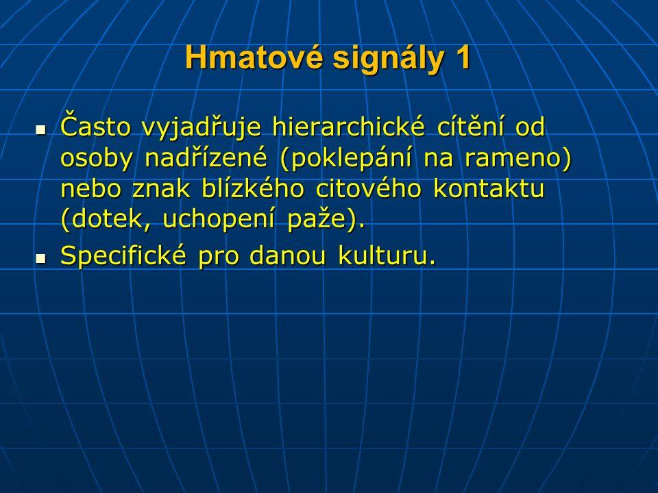 Hmatové signály 1 Často vyjadřuje hierarchické cítění od osoby nadřízené (poklepání na rameno) nebo znak blízkého citového kontaktu (dotek, uchopení paže).