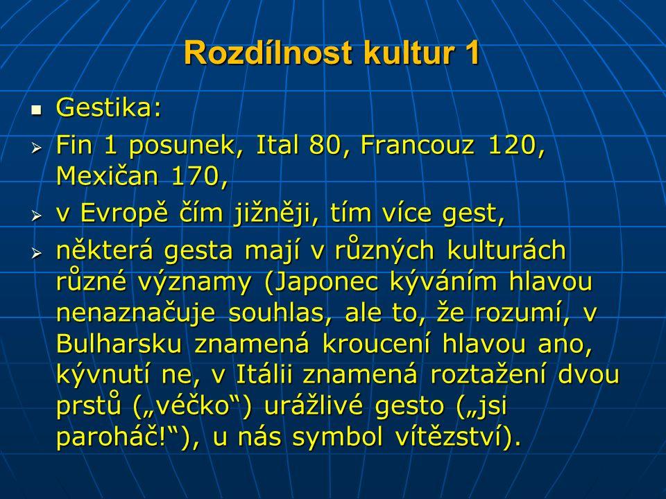 """Rozdílnost kultur 1 Gestika: Gestika:  Fin 1 posunek, Ital 80, Francouz 120, Mexičan 170,  v Evropě čím jižněji, tím více gest,  některá gesta mají v různých kulturách různé významy (Japonec kýváním hlavou nenaznačuje souhlas, ale to, že rozumí, v Bulharsku znamená kroucení hlavou ano, kývnutí ne, v Itálii znamená roztažení dvou prstů (""""véčko ) urážlivé gesto (""""jsi paroháč! ), u nás symbol vítězství)."""