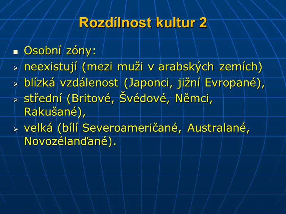 Rozdílnost kultur 2 Osobní zóny: Osobní zóny:  neexistují (mezi muži v arabských zemích)  blízká vzdálenost (Japonci, jižní Evropané),  střední (Britové, Švédové, Němci, Rakušané),  velká (bílí Severoameričané, Australané, Novozélanďané).