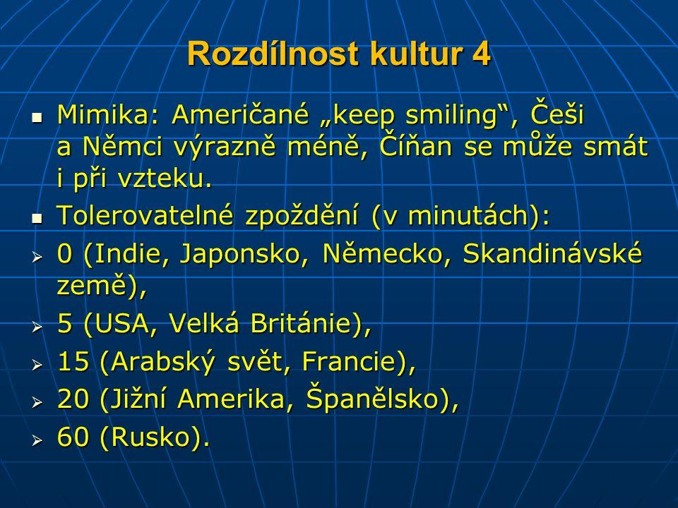 """Rozdílnost kultur 4 Mimika: Američané """"keep smiling , Češi a Němci výrazně méně, Číňan se může smát i při vzteku."""