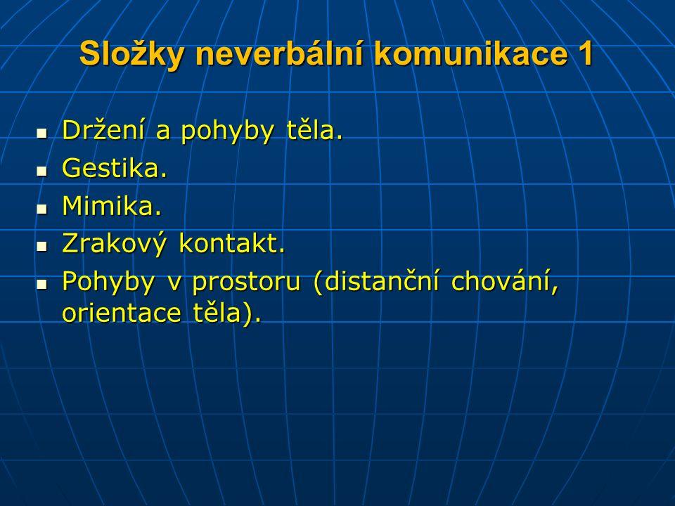 Složky neverbální komunikace 1 Držení a pohyby těla.