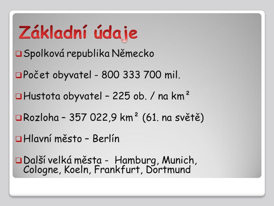  Spolková republika Německo  Počet obyvatel - 800 333 700 mil.