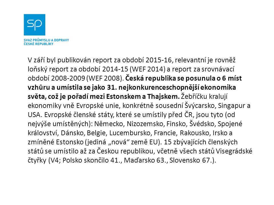 V září byl publikován report za období 2015-16, relevantní je rovněž loňský report za období 2014-15 (WEF 2014) a report za srovnávací období 2008-2009 (WEF 2008).