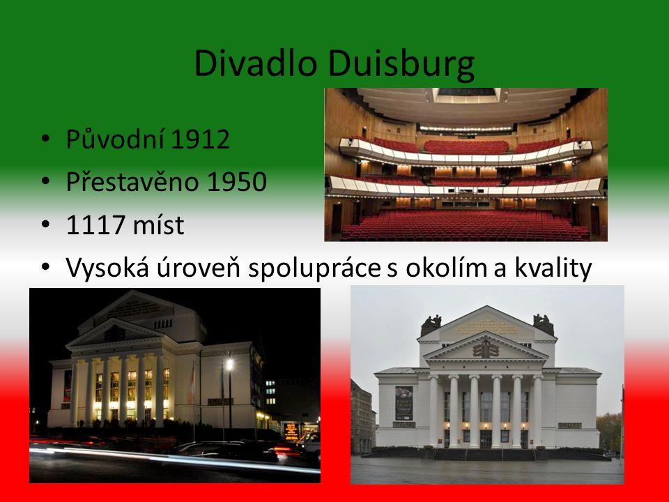 Divadlo Duisburg Původní 1912 Přestavěno 1950 1117 míst Vysoká úroveň spolupráce s okolím a kvality