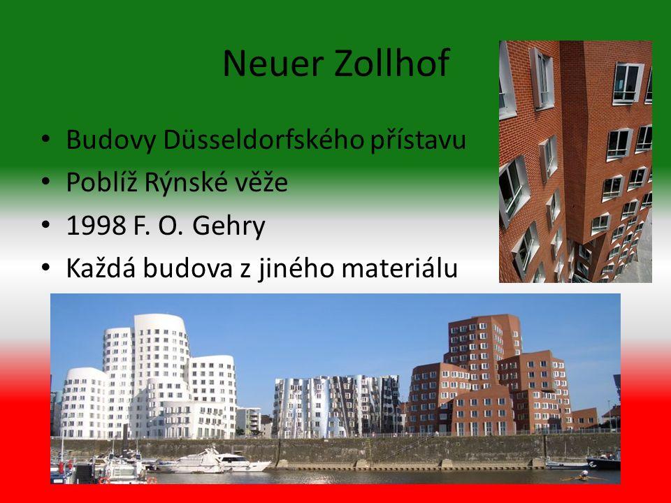Neuer Zollhof Budovy Düsseldorfského přístavu Poblíž Rýnské věže 1998 F.