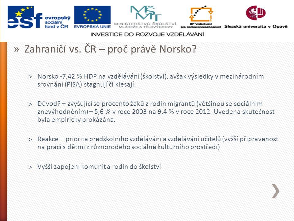 """» Zahraničí vs.ČR – proč právě Norsko. ˃RVP pro MŠ a """"1."""